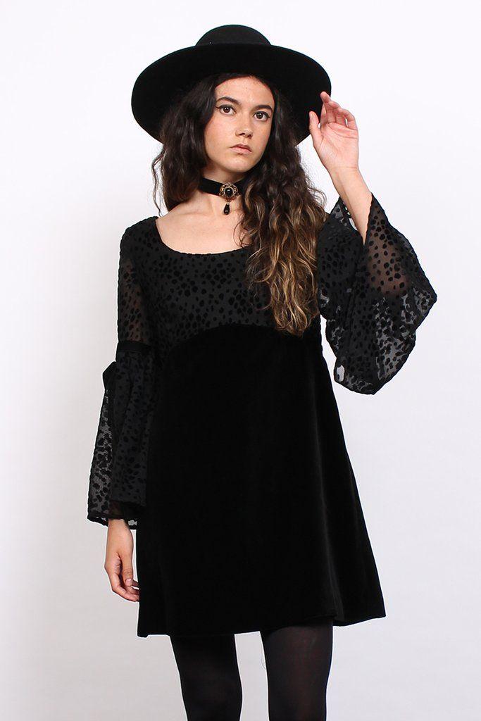 Vintage 60s Black Burnout Velvet Bell Sleeve Witchy Mini Dress