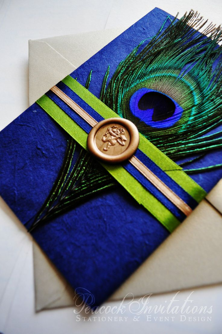 Rustic French Peacock Themed Wedding Invitations