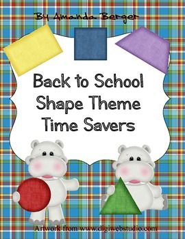 This is a nice set of Back to School time savers made with hippos and shapes.  It is an organization tool as the desk labels match group signs and bus tags.  This set includes handy forms like a birthday chart, a substitute teacher form, sign in sheets and more.