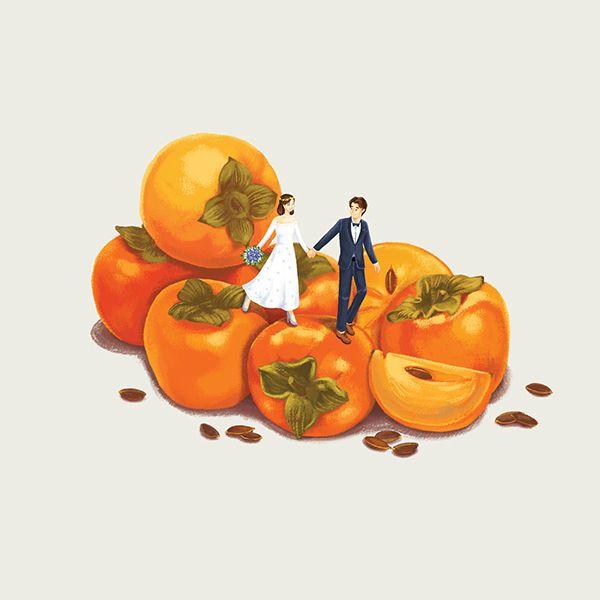 柿子 事事如意 PERSIMMON: Revelled for its sweet and succulent flavours, this delicious red fruit symbolises a joyful and happy family life.