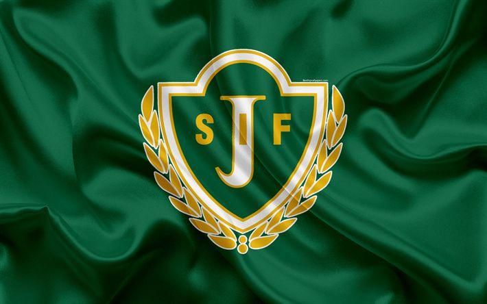 Download wallpapers Jonkopings FC, 4k, Swedish football club, logo, emblem, Allsvenskan, football, Jonkoping, Sweden, silk flag, Swedish Football Championships