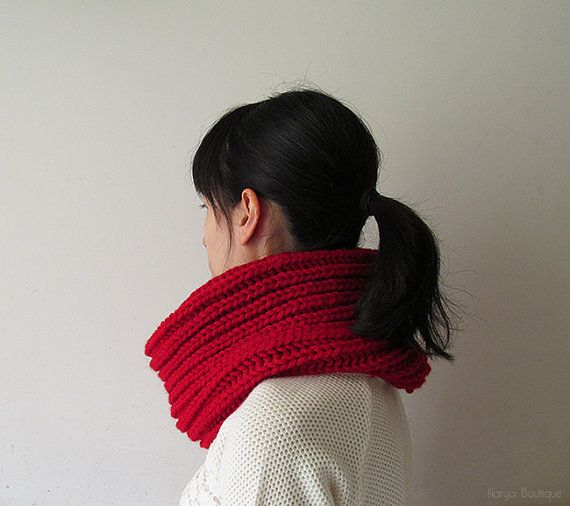 Hand Knitted Cowl in Carmen Red  Chunky Knit Cowl