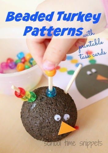 Beaded Turkey Patterns Busy Bag w/ printable task cards