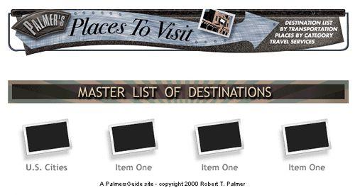Personal website concept. Places to visit.