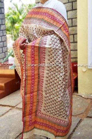 Designer Desi Tussar Silk Dupattas with Mughal Art Patterns