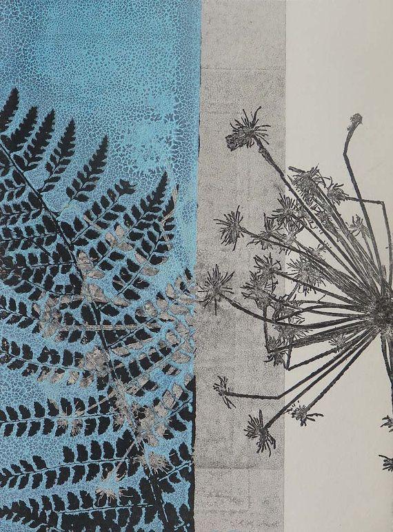 Small original botanical monoprint Handmade modern fine art nature print on cream paper by Stef Mitchell Fern & Seed Aqua turquoise blue