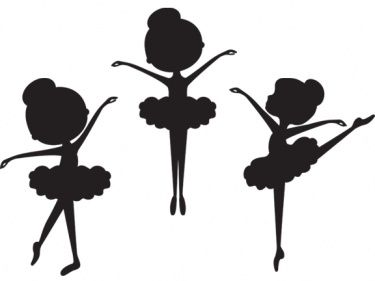 Silhouettes of 3 (from the 5) Basic Ballet Positions (1, 2 and 5) from a Little Ballerina Girl.