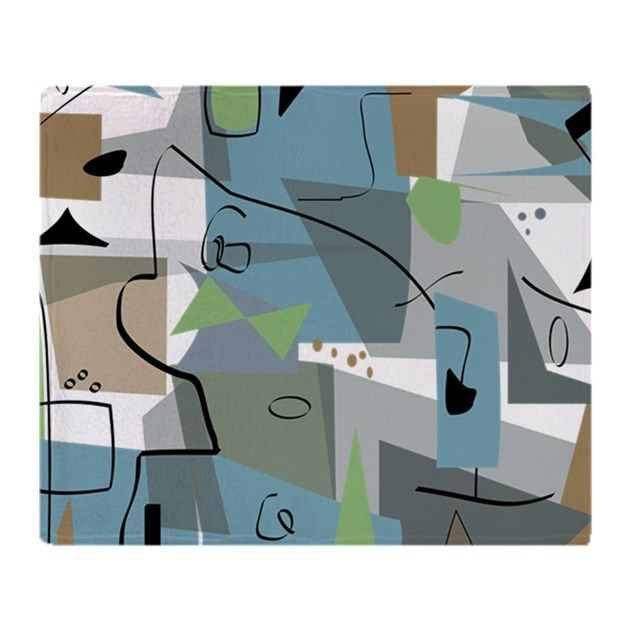 Mid-century modern inspired abstract in tan, orange, blue. Unique duvet covers, pillows, blankets and more.