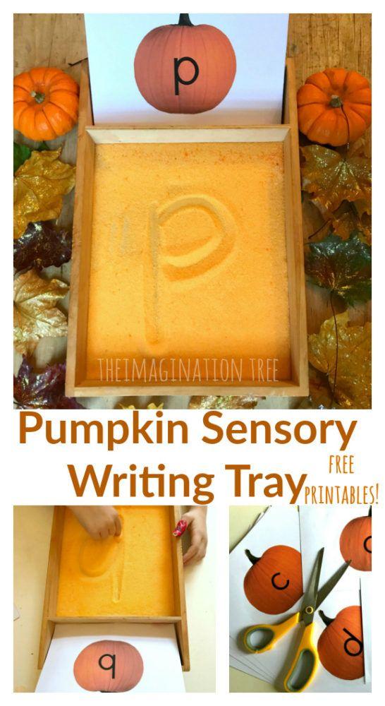 Pumpkin Sensory Writing Tray with free ABC printable cards!