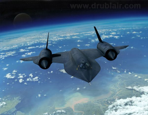 Lockheed SR-71 Blackbird: The fastest manned airplane ever built. It could fly from New York to London in under two hours at speeds up to Mach 3.2. Even though it regularly flew reconnaissance missions over enemy territory, none were ever lost to enemy fire due to their incredible speed, altitude, and stealth capabilities. Painting by Dru Blair.