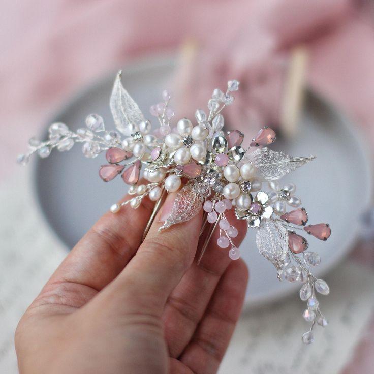 Bridal hair comb Wedding flower hair comb Bridal silver