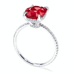 Diamond Jewellers :: Ruby With Micropave Diamonds Cushion-Cut Ruby, 3.03 Carats; 92 Round Diamonds, 0.49 Total Carats; Platinum Setting.