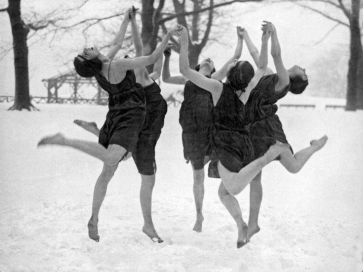 Ladies dancing in snow, ca. 1920s