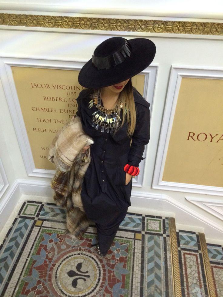 London fashion week Feb with Vivienne Westwood dress Noel Stewart Hat Youxu Wong Necklace Natacha Marro shoes