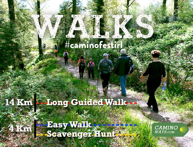 We'll have three walks to choose from for the #caminofestirl 14km long guided walk, 4km easy walk and a 4km scavenger hunt
