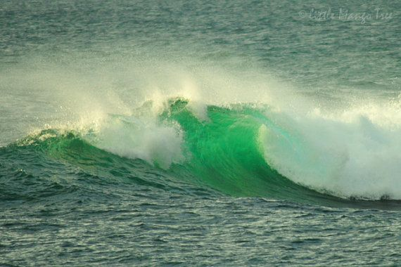 Green Wave Perranporth  sea ocean surf photography print