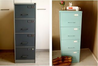 spray painting a metal file cabinet to make mine match the decor. Black Bedroom Furniture Sets. Home Design Ideas