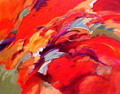 Tableau abstrait rouge multicolore