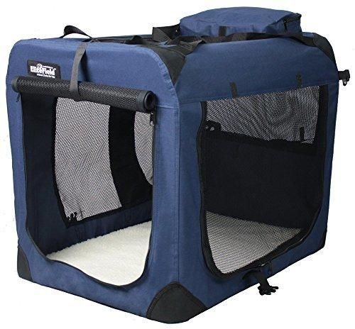 "EliteField 3-Door Folding Soft Dog Crate Indoor & Outdoor Pet Home Multiple Sizes and Colors Available (20""L x 14""W x 14""H Navy Blue)"