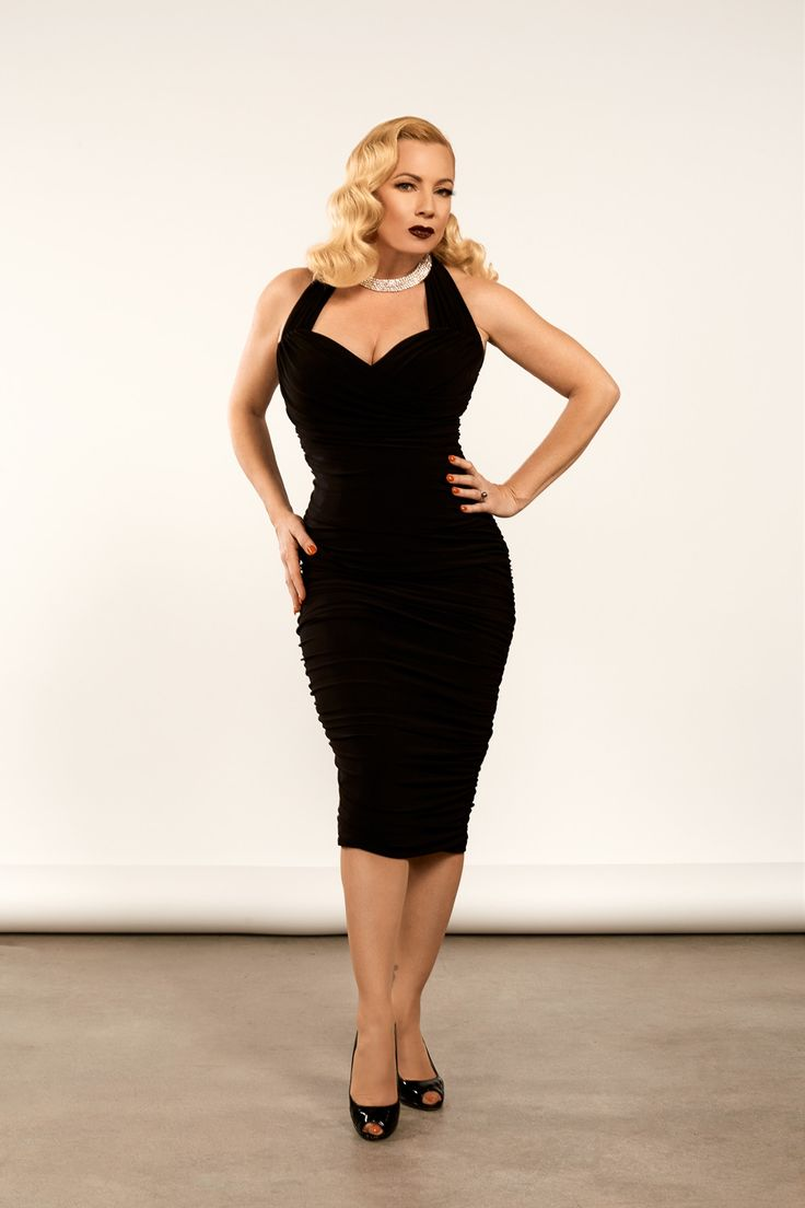 Traci Lords Traci Dress in Black for Couture for Every Body | Vintage Style Cocktail Dress | Pinup Girl Clothing