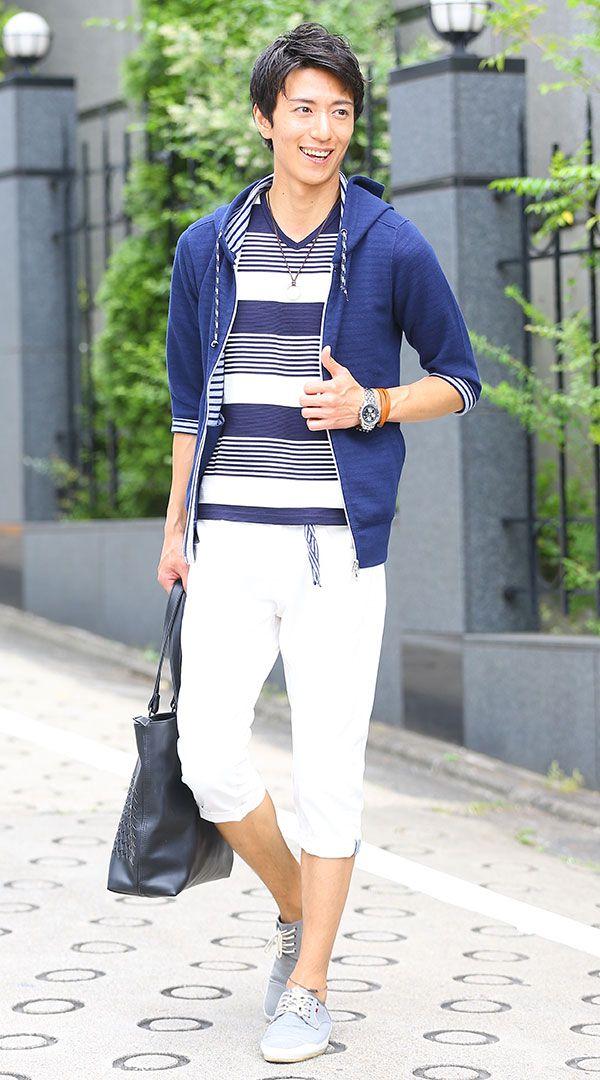 夏のネイビーコーディネート例(カットソー・シャツ・ジャケット・パーカー) - 大人のファッションカレッジ