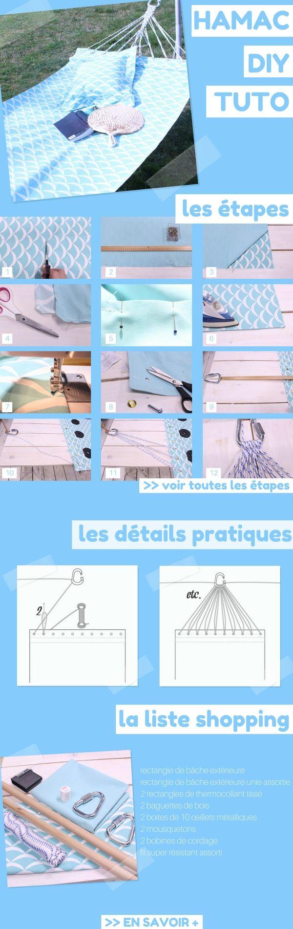 [TUTO GRATUIT] : Fabriquer un hamac (+patrons, conseils et liste shopping)  http://www.homelisty.com/3-diy-jardin-balcon-terrasse-beaux-jours/