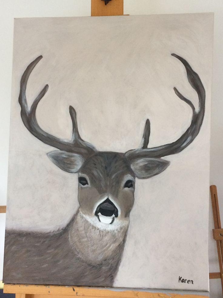 Hert geschilderd met acryl verf. Ben er trots op! Leuk voor de winter!
