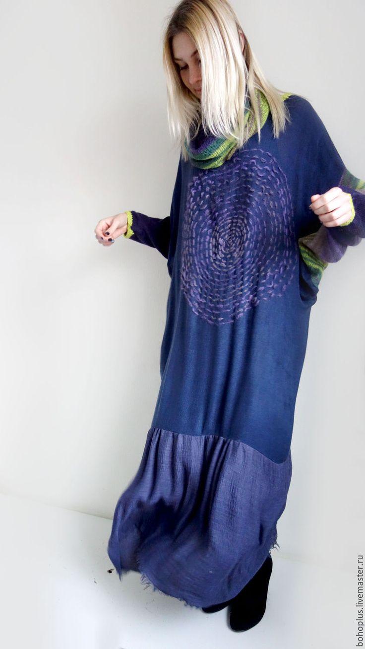 """Купить Платье в стиле бохо """"Дания6"""" - васильковый, однотонный, платье, платье в пол, платье бохо"""