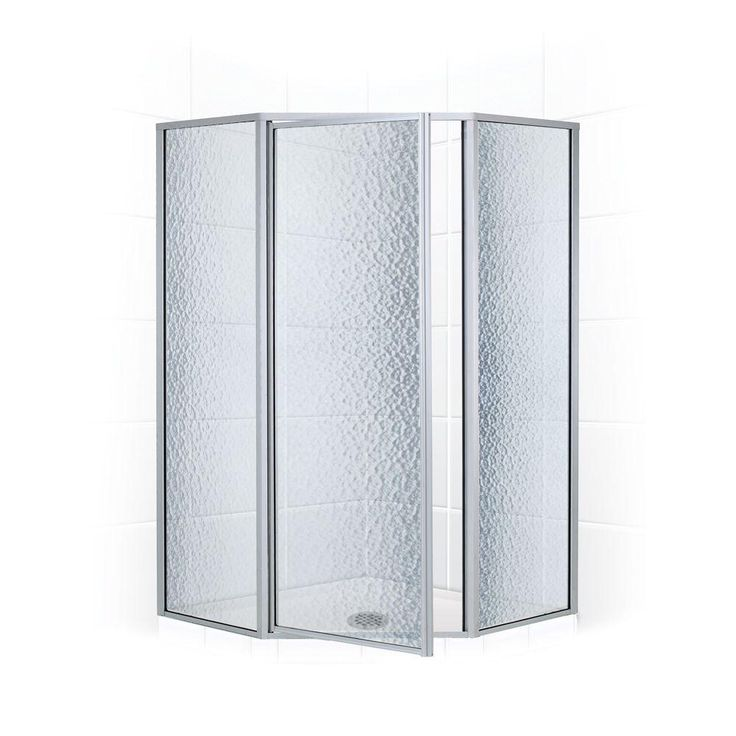 Coastal Shower Doors Legend Series 62 in. x 66 in. Framed Neo-Angle Swing Shower Door in Platinum and Obscure Glass