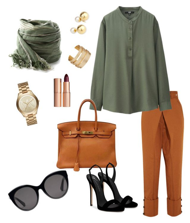"""""""play with color"""" by chantallb on Polyvore featuring Proenza Schouler, Uniqlo, Hermès, Giuseppe Zanotti, Michael Kors, Yoko London, Charlotte Tilbury and Gucci"""