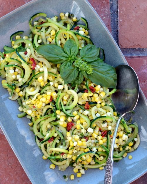 Chilled Zucchini Noodle Salad with Pesto, Sweet Corn & Sun-Dried Tomato, another healthy salad ♥ A Veggie Venture