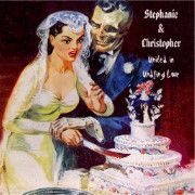 Personalized Halloween horror zombie wedding invites with a cool vintage image of the bride and scary doom / groom cutting their beautiful wedding cake with a large knife dripping with blood. The groom is half skeleton / zombie and half man.  The bride looks terrified! 'Til death do us part. United in undying love.  Trendy, colourful, fun, classic vintage retro art old Pulp magazine cover illustration invitations for Halloween / gory Gothic zombie weddings printed / de...