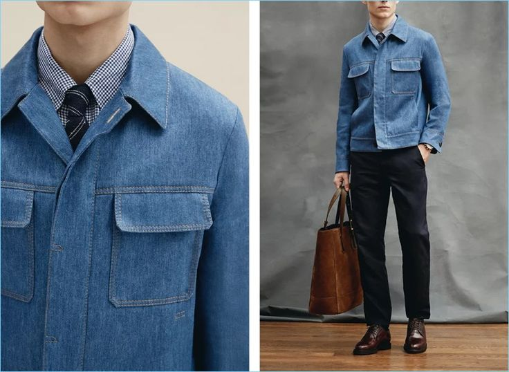 Denim goes smart with Berluti's slim-fit stretch linen and cotton-blend denim jacket $2,200. Here, the jacket complements an Ermenegildo Zegna slim-fit button-down gingham cotton and linen-blend shirt $375 and garment-dyed stretch cotton trousers $395. The model also wears Brunello Cucinelli Cordovan leather derby shoes $2,495 with a Thom Sweeney striped tie, a Bremont Oracle Team USA Regatta chronograph 43mm titanium and rubber watch $6,895, and Tom Ford North West leather-trimmed suede…