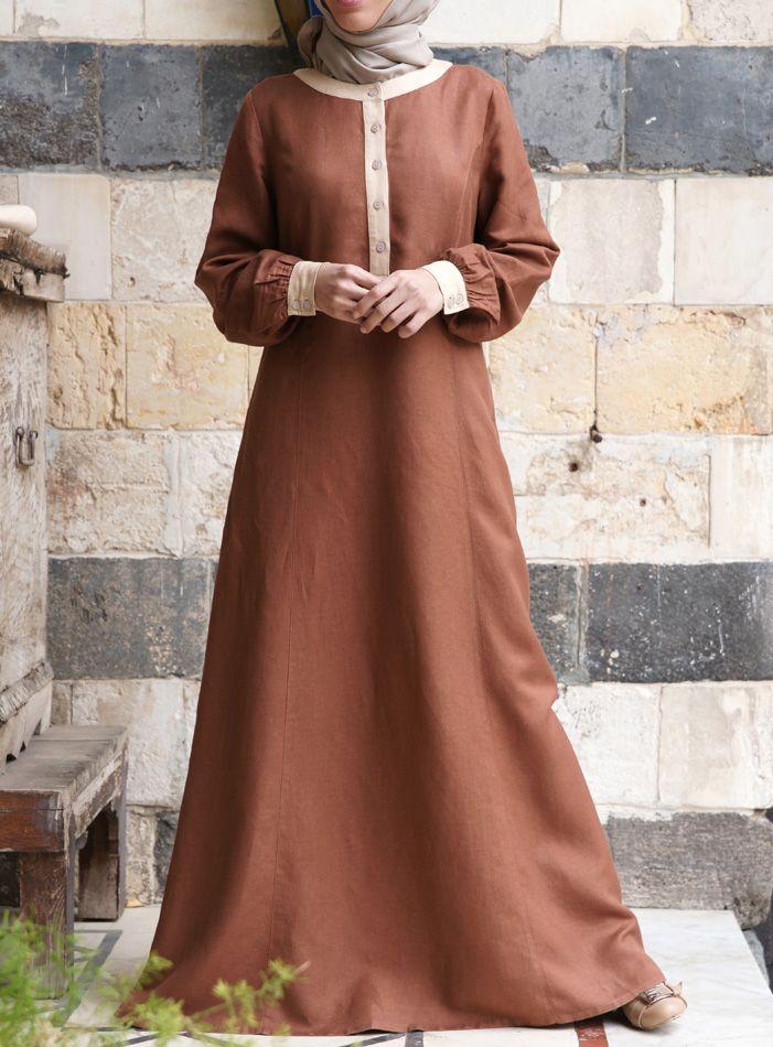 SHUKR USA | Contrast Linen Dress