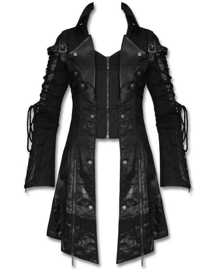Punk Rave Poison Black Jacket Mens Faux Leather Goth Steampunk Military Coat #PunkRave #OtherCoats