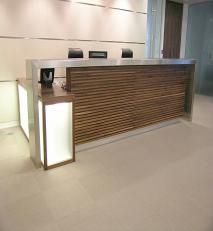 Walnut With Stainless Steel Reception Desk