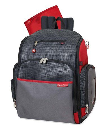 Gray & Red Super Cooler Backpack Diaper Bag by Fisher-Price #zulily #zulilyfinds