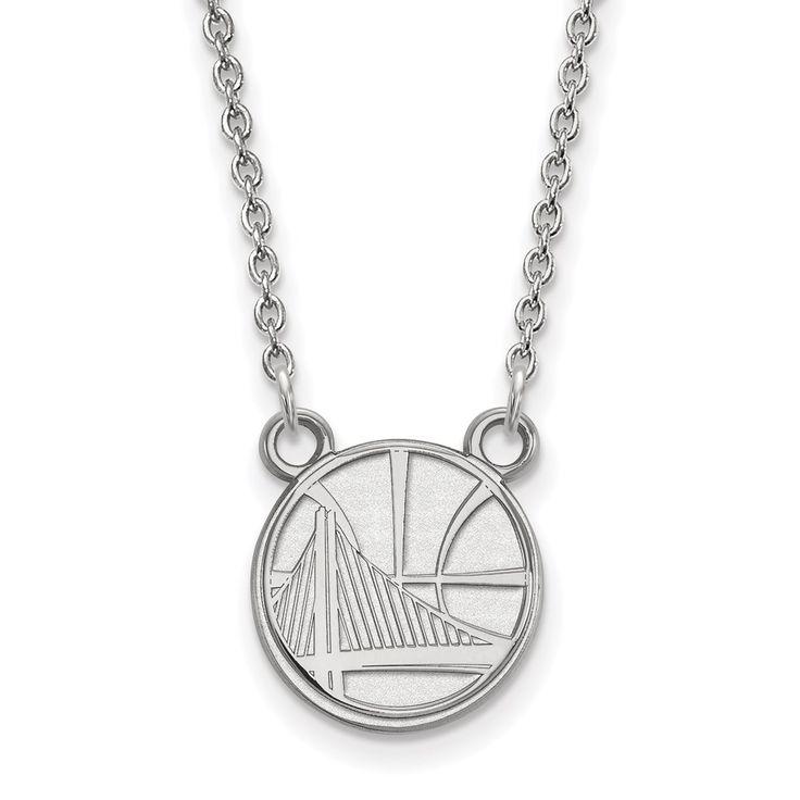 LogoArt 14 Karat Gold Golden State Warriors Small Pendant with Necklace