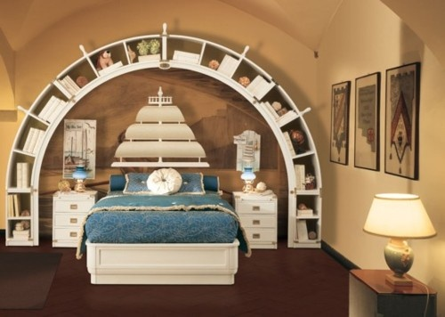 Magnificent Sea Voyage Boys Bedroom Theme With Sailing Ship Headboard Ideas  And Fantastic Circular Bookshelf Design In Brown Walls
