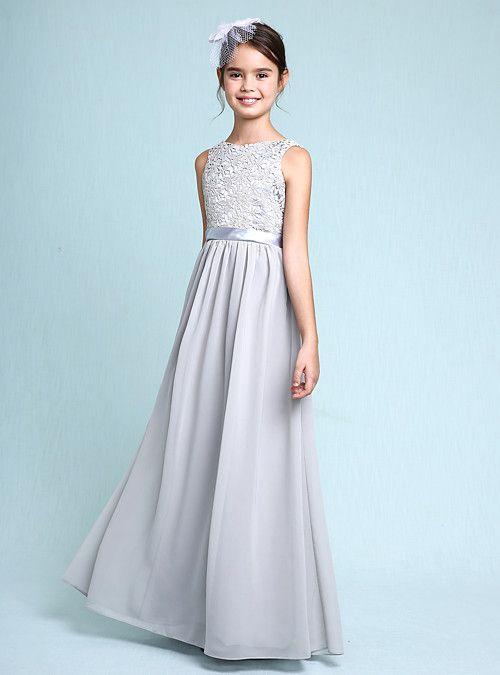 edaa8e7e3 Sheath / Column Bateau Neck Floor Length Chiffon / Lace Junior Bridesmaid  Dress with Lace by LAN TING BRIDE® / Natural 2019 - US $71.99