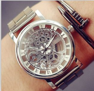 New Famous Brand Luxury Fashion Casual Stainless Steel Men Skeleton Watch Women Dress Wristwatch Multi-color