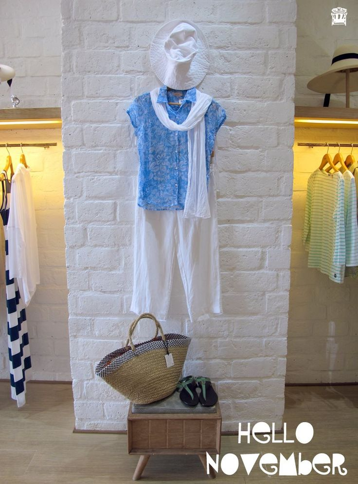 Women's fashion in blue fabrics.