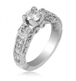 0.74 CTTW Diamond Ring with Good Cut Center Stone in 18K White Gold