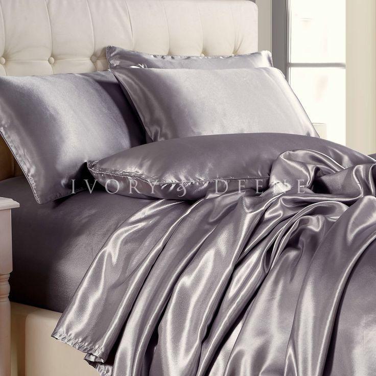 SILVER Satin Sheet Set KING Size NEW Quality Luxury Silk Feel Bed Linen Bedding #IvoryDeene #Modern
