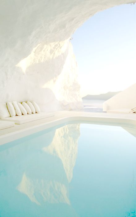 Katikies Hotel - Santorini, Greece..there are not enough words to describe how beautiful this place is.