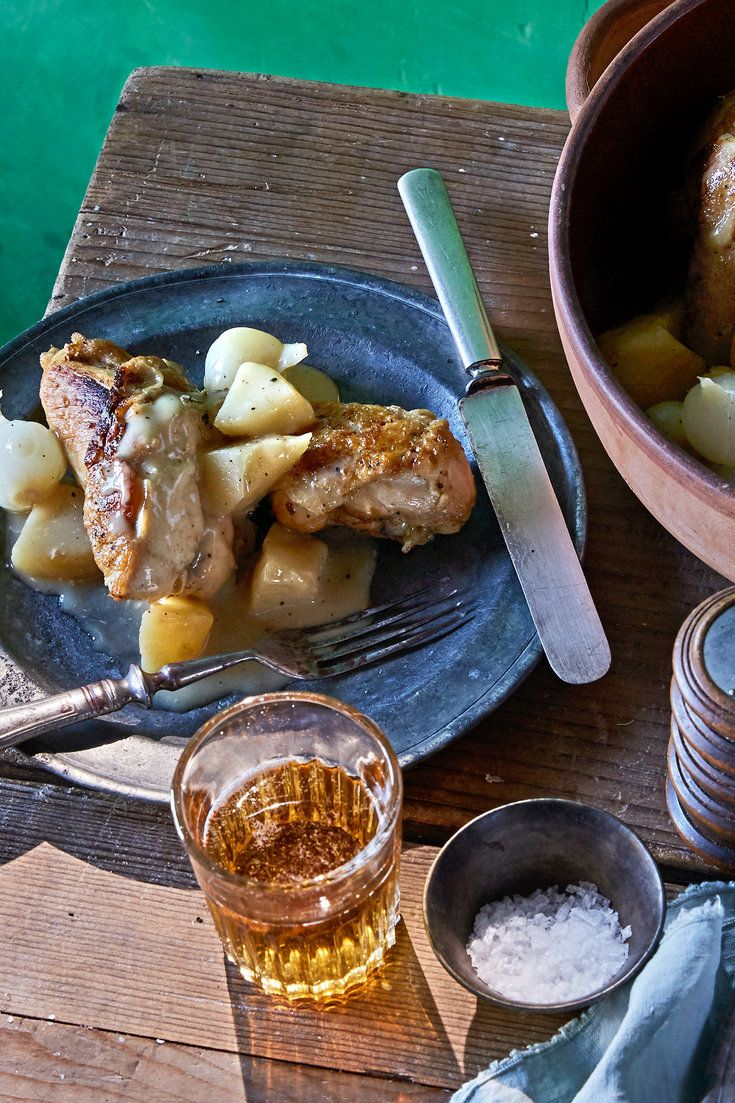 This simple, classic braise from northern France brings together the fall flavors of sweet apples, yeasty cider, cream and chicken The only trick is flambéing the Calvados or brandy, which gives it a toasty flavor — it's literally playing with fire, so if you'd prefer not to do that, you can stay safe and get very similar results by pouring the liquor in off-heat, and gently simmering it to evaporate the alcohol.