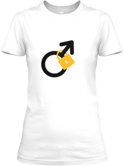 "☺ T-shirt for Chaste Men or Keyholders : Are you a man who is proud to be in chastity to your wife/girlfriend/mistress?  Show off your ""locked"" status with this quality t-shirt.  Are you a woman who has her man secured?  This shirt will show everyone his status 