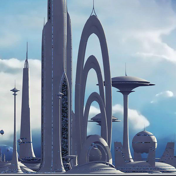 futuristic sci fi city 3d model by Tim Shaw