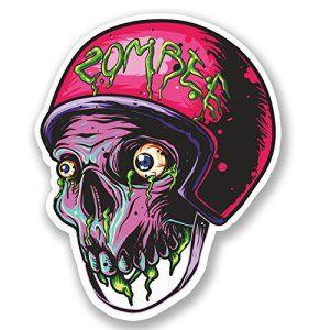 2 x 10 cm, Zombie, ordinateur portable, iPad, vinyle Decal Stickers Casque de roller derby de skate # 5332: La vignette livrée avec un…