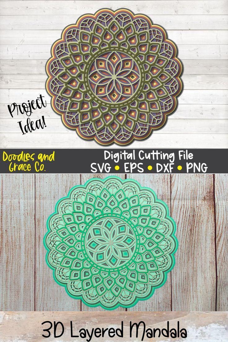 Free Layered Mandala Svg : layered, mandala, Paper, Crafts, Cricut